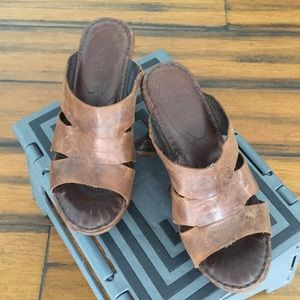 Leather high heel slides size 7